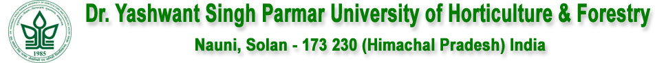 Dr. Yashwant Singh Parmar University of Horticulture and Forestry | 2018