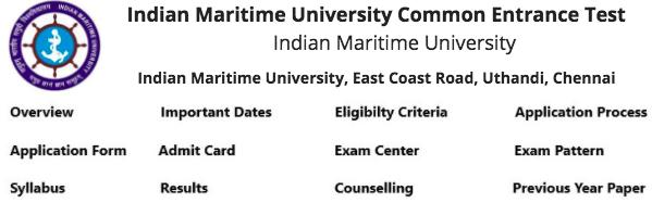 Indian Maritime University Common Entrance Test | IMU CET 2019